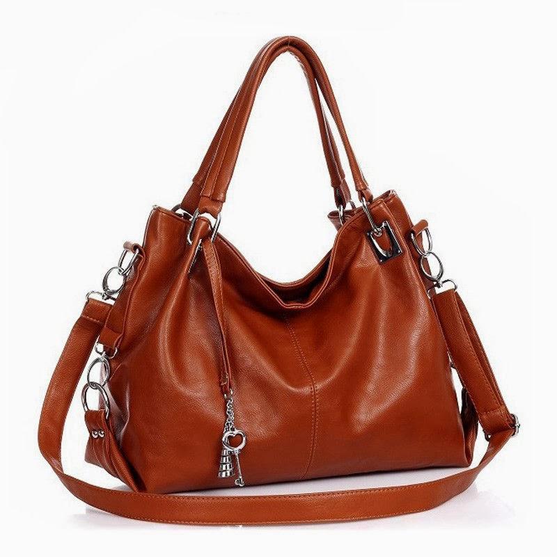 Woman Girl leather handbag shoulders messenger tote cross body bag hobo Brown