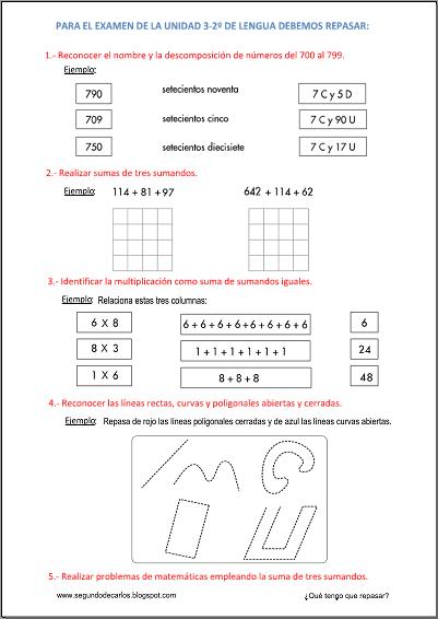 El jueves 06-02-14 tenemos la prueba escrita de la unidad 2 del 2º trimestre de matemáticas. Aquí tenéis algunas indicaciones de lo que debéis repasar para poder sacar una buena nota. ¡Ánimo y a por el diez!  http://www.primerodecarlos.com/SEGUNDO_PRIMARIA/enero/tema2/fichas/evaluacion/indicaciones/indicaciones_mat_2-2.pdf   Haz clic en la imagen para abrir las indicaciones