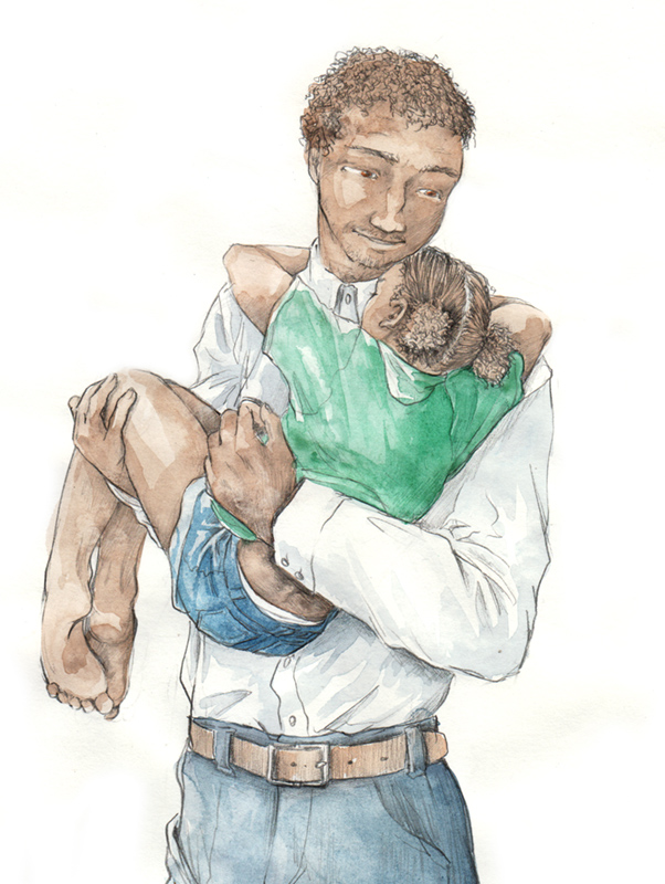Père et fille - dessin calendrier de tendresses