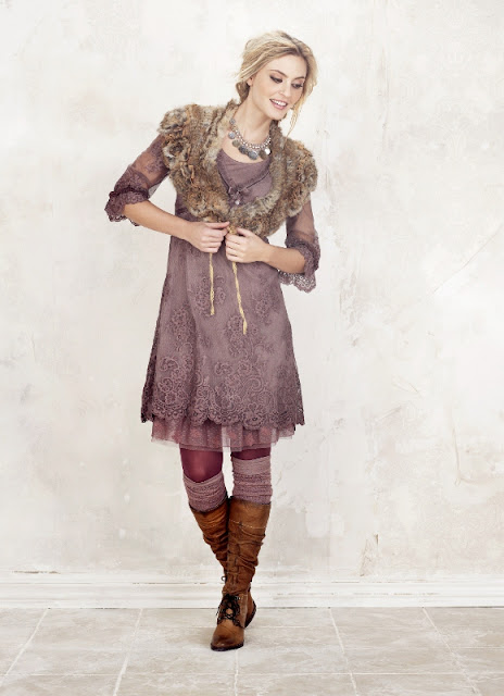 Cream Soia Lace Dress and Veronica Lace-Up Leather Boots