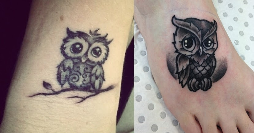 Cute owl tattoos on foot - photo#11