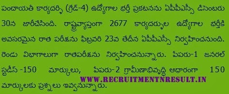 APPSC Panchayat Secretary Hall Ticket 2014