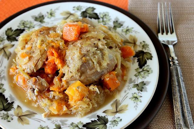 Chicken Thight with Sauerkraut and Butternut Squash