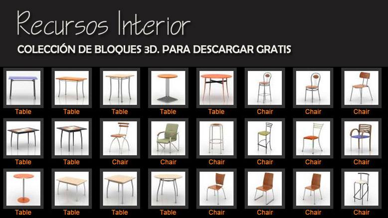 Colecci n de bloques 3d de sillas sillones mesas for Muebles de oficina en autocad 3d gratis