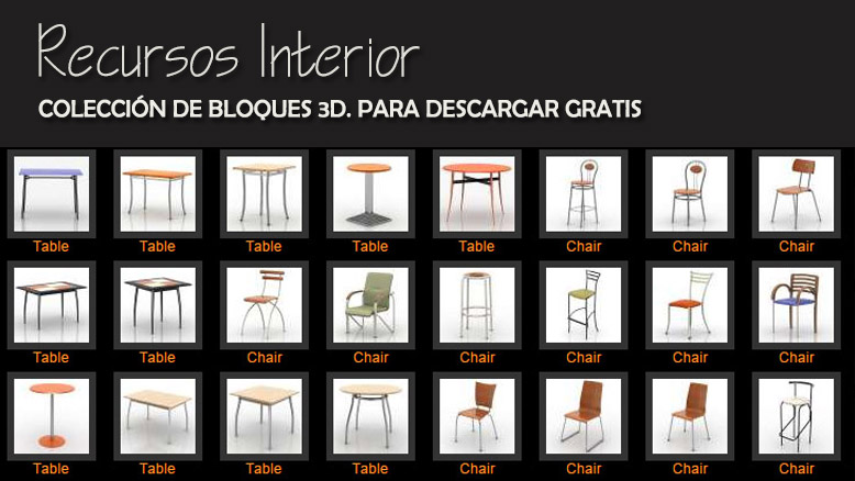 Colecci n de bloques 3d de sillas sillones mesas for Sillas para 3d max