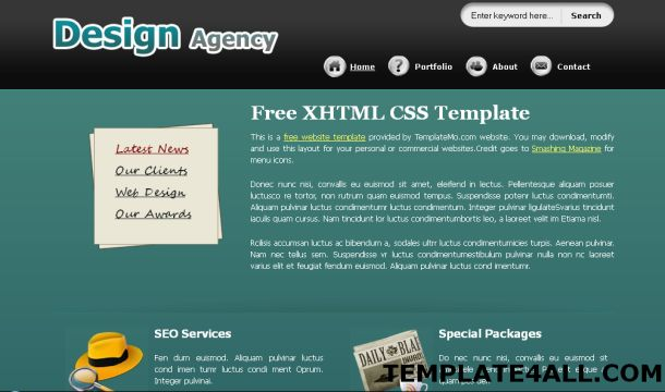house black free css template free black green portfolio css template