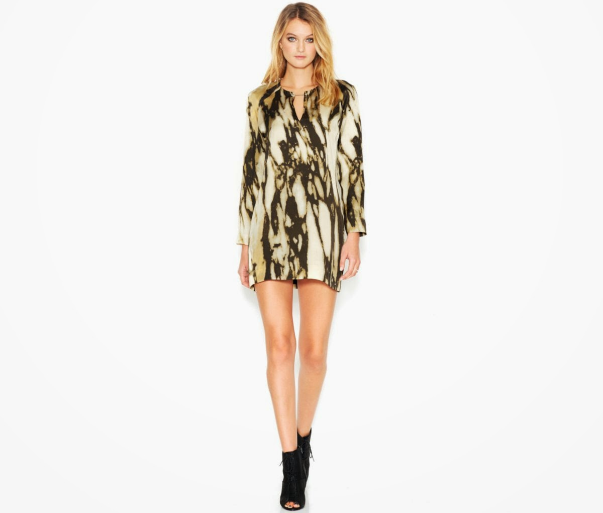 Macy's Fall Fashion-  RACHEL Rachel Roy Long-Sleeve Cutout Marble-Print Dress Fashion Rocks