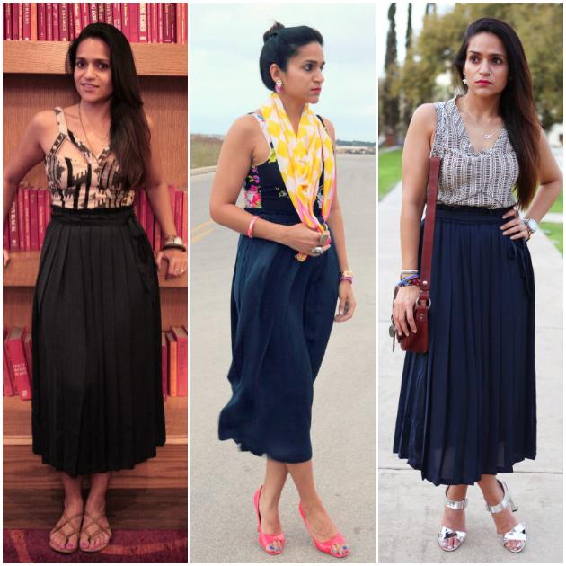 Three Ways To Wear A Pleated Skirt, Tanvii.com
