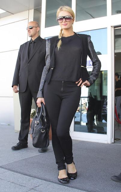 Paris Hilton strikes a pose for cameras at  Ataturk Airport in Istanbul