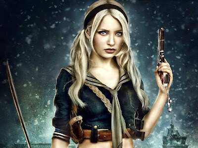 Emily Browning with Gun and Sword Sucker Punch HD Desktop Wallpaper