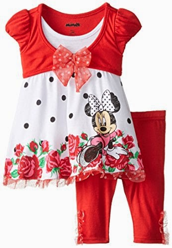 Disney Baby-Girls Infant 2 Piece Minnie Mouse Mock Twofer Jersey with Legging