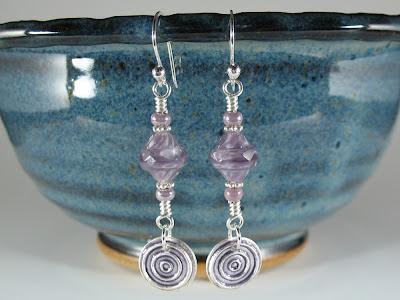 Czech Glass Beads & Enameled Fine & Sterling Silver Earrings