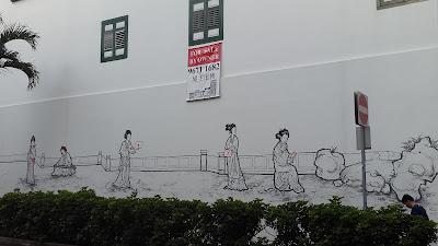 Chinese wall mural at Duxton Hill Tanjong Pagar Singapore