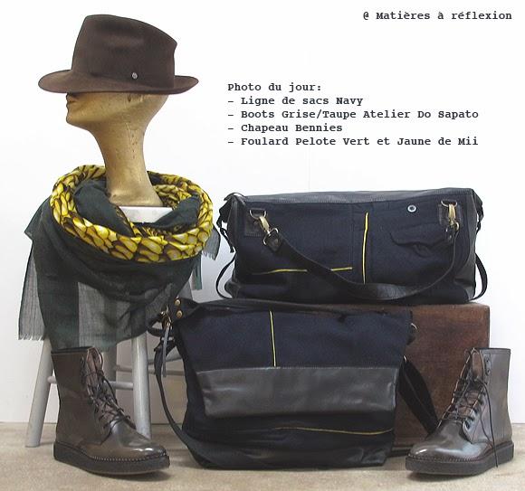 Besace Navy Matières à réflexion, boots Atelier Do sapato, chapeau Bennies et foulard Pelote de Mii