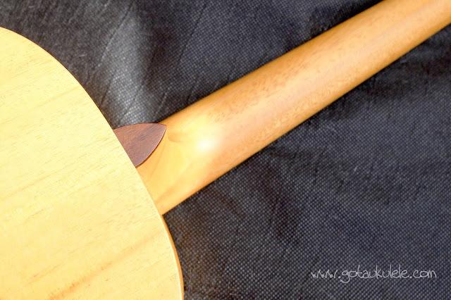 Pono MB-e Baritone ukulele neck heel