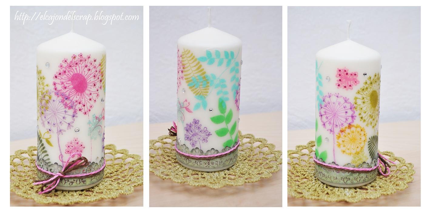 El caj n del scrap vela decorada con dientes de le n - Transferir fotos a velas ...
