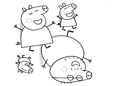 Cute Cartoon Pigs Coloring Pages
