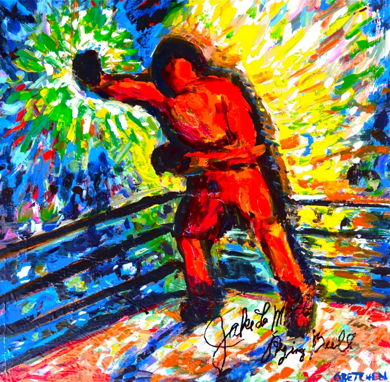Signed Jake LaMotta Painting