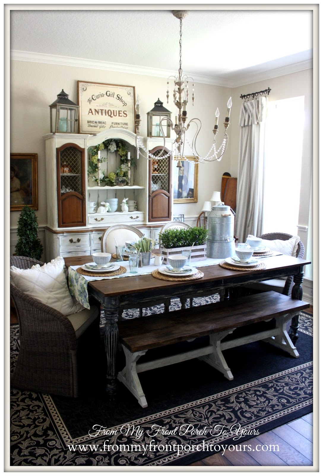 French Farmhouse Dining Room set for Spring Brunch