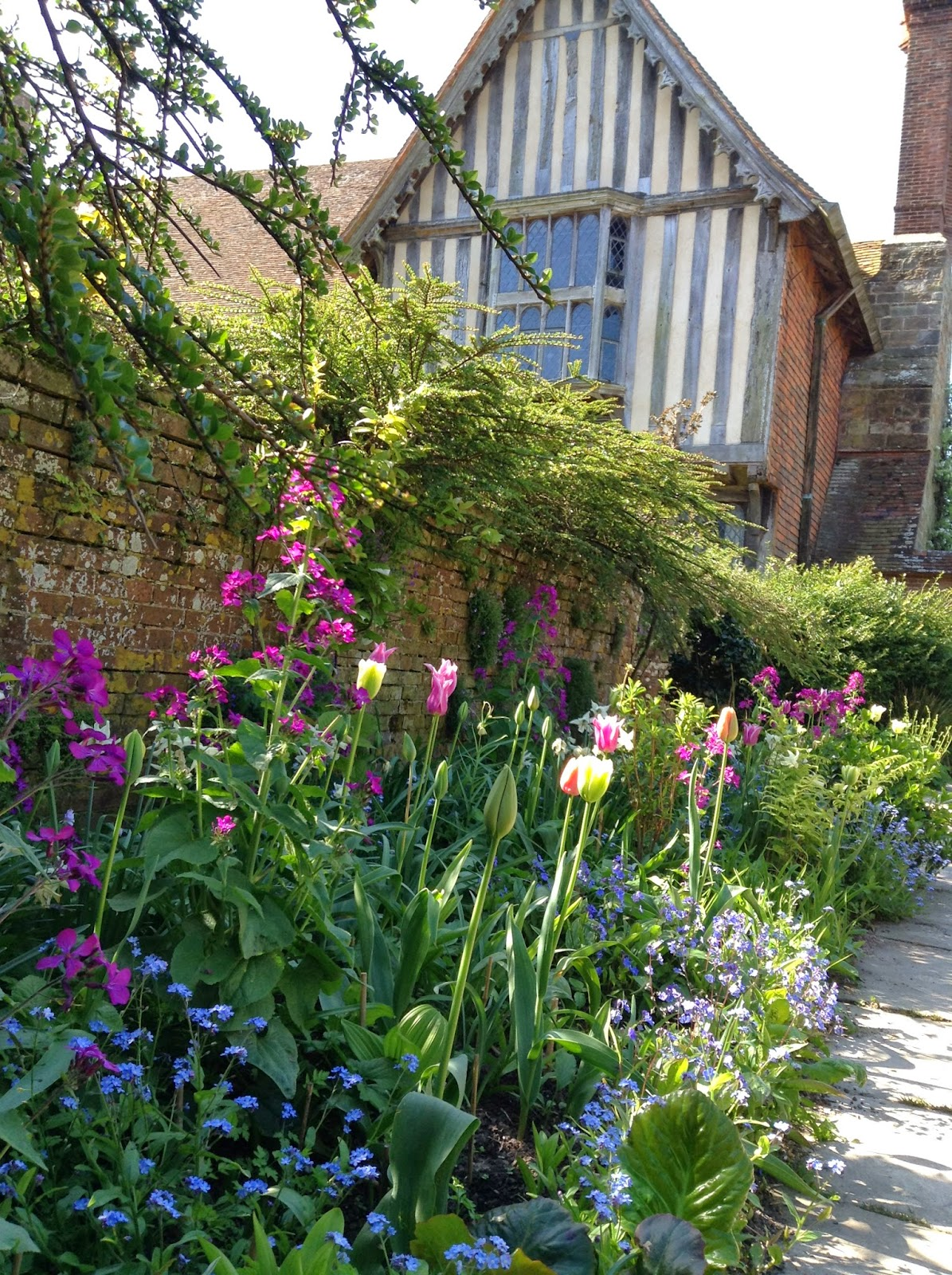 One of the most well-know Garden Design principles: Repetition is the Key! - Tulips, Myosotis, Lunaria annua in the Wall Garden, Great Dixter - Photo by Noemi Mercurelli