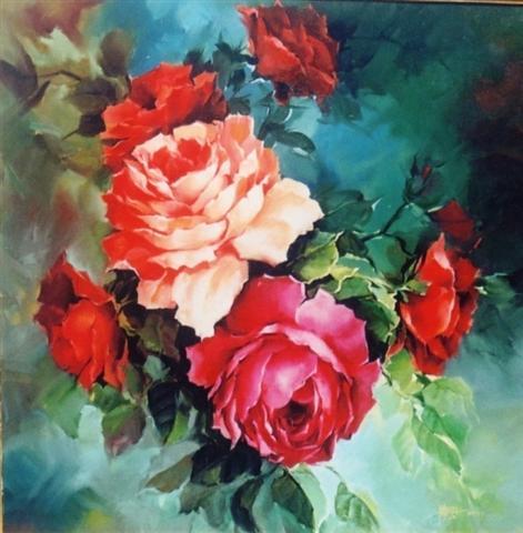 Lukisan Bunga, Ayam, Buah dan ikan