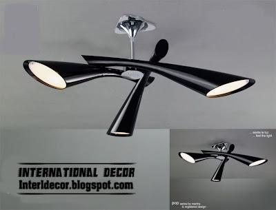 black ceiling lamp, triple ceiling lamp style, unique ceiling lighting