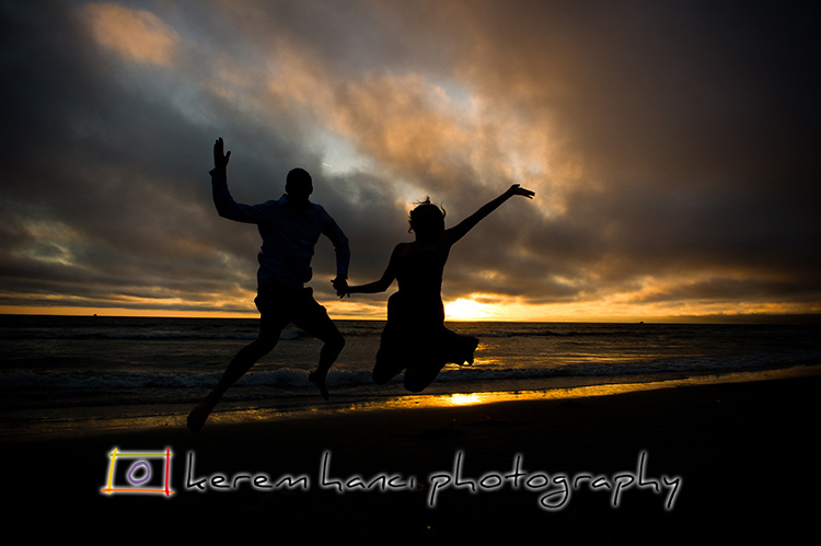 Fun couple's Contre-Jour Engagement Shoot at Sunset on Venice Beach