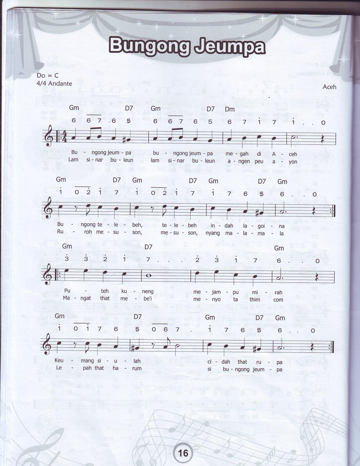 "Notasi Balok dan Angka, Lagu ""Bungong Jeumpa"""