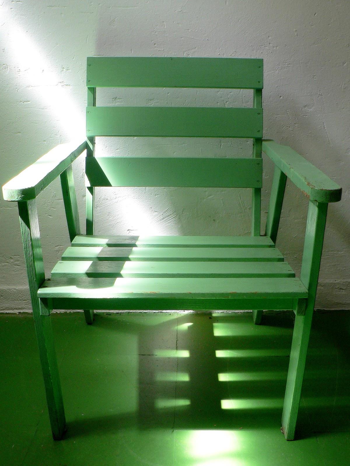 Vintage kitsch siglo xx sillon de terraza madera verde for Sillon terraza madera
