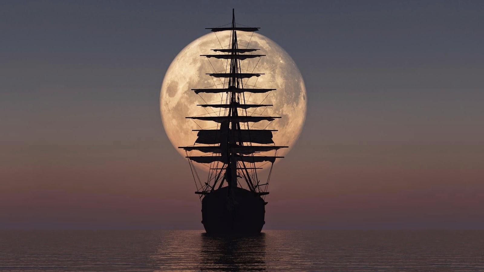 Wallpaper met piratenschip en volle maan