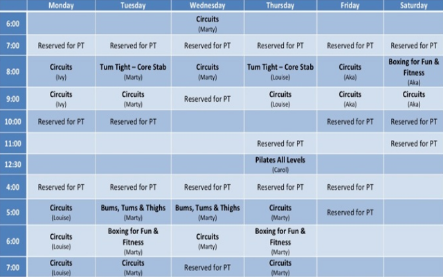 Fitness first timetable 3
