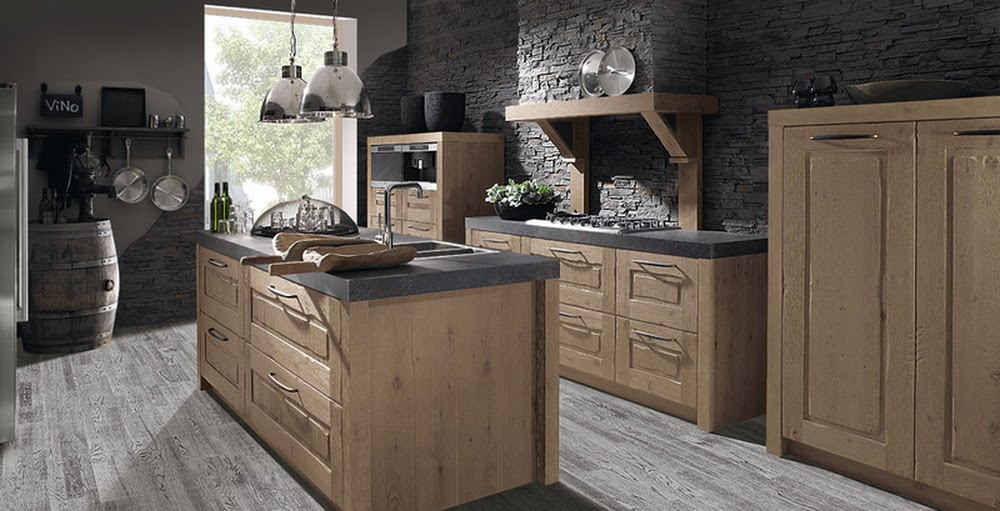 cuisine rustique melang contemporain en bois avec sol b ton cuisine pinterest cuisine et. Black Bedroom Furniture Sets. Home Design Ideas