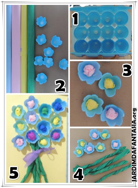 Artesanato para criança trabalho escolar de reciclagem caixa de ovos e papel crepom