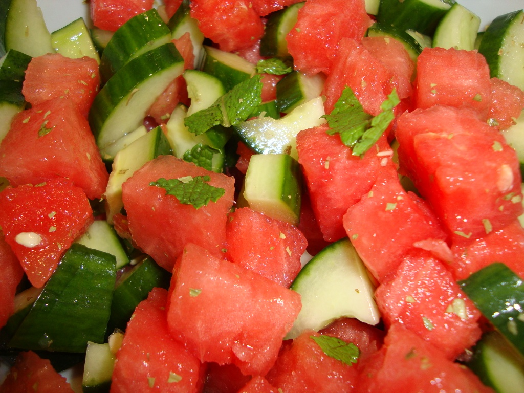 fresh and refreshing salad minted watermelon and cucumber salad ...