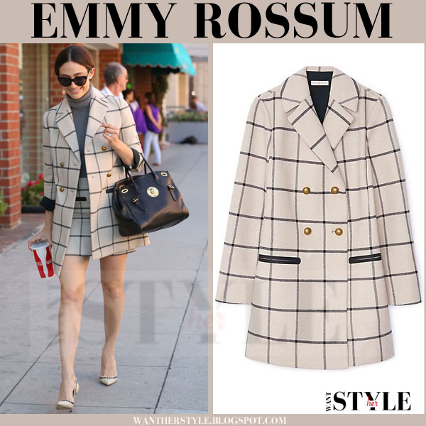 Emmy Rossum in beige plaid grid print short coat tory burch what she wore streetstyle