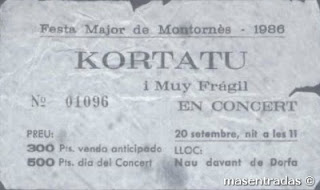 entrada de concierto de kortatu