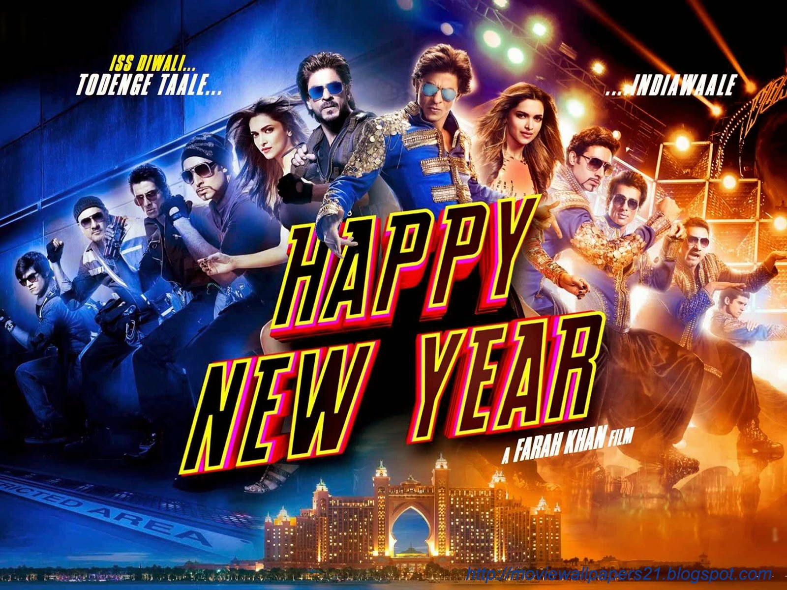 online movies wallpapers: shahrukh and deepika bollywood happy new