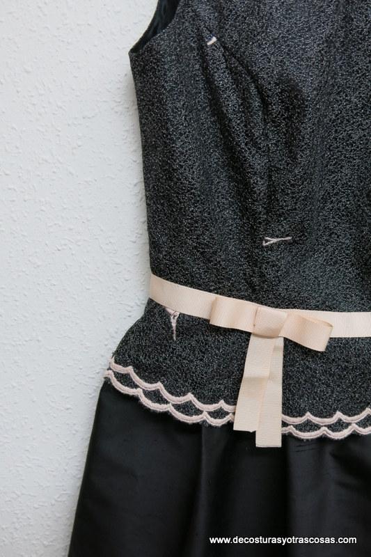 detalle lazo vestido fiesta de encaje y seda