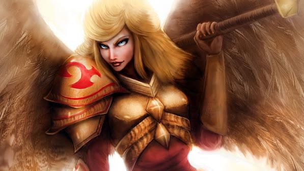 kayle art angel wings armor league of legends