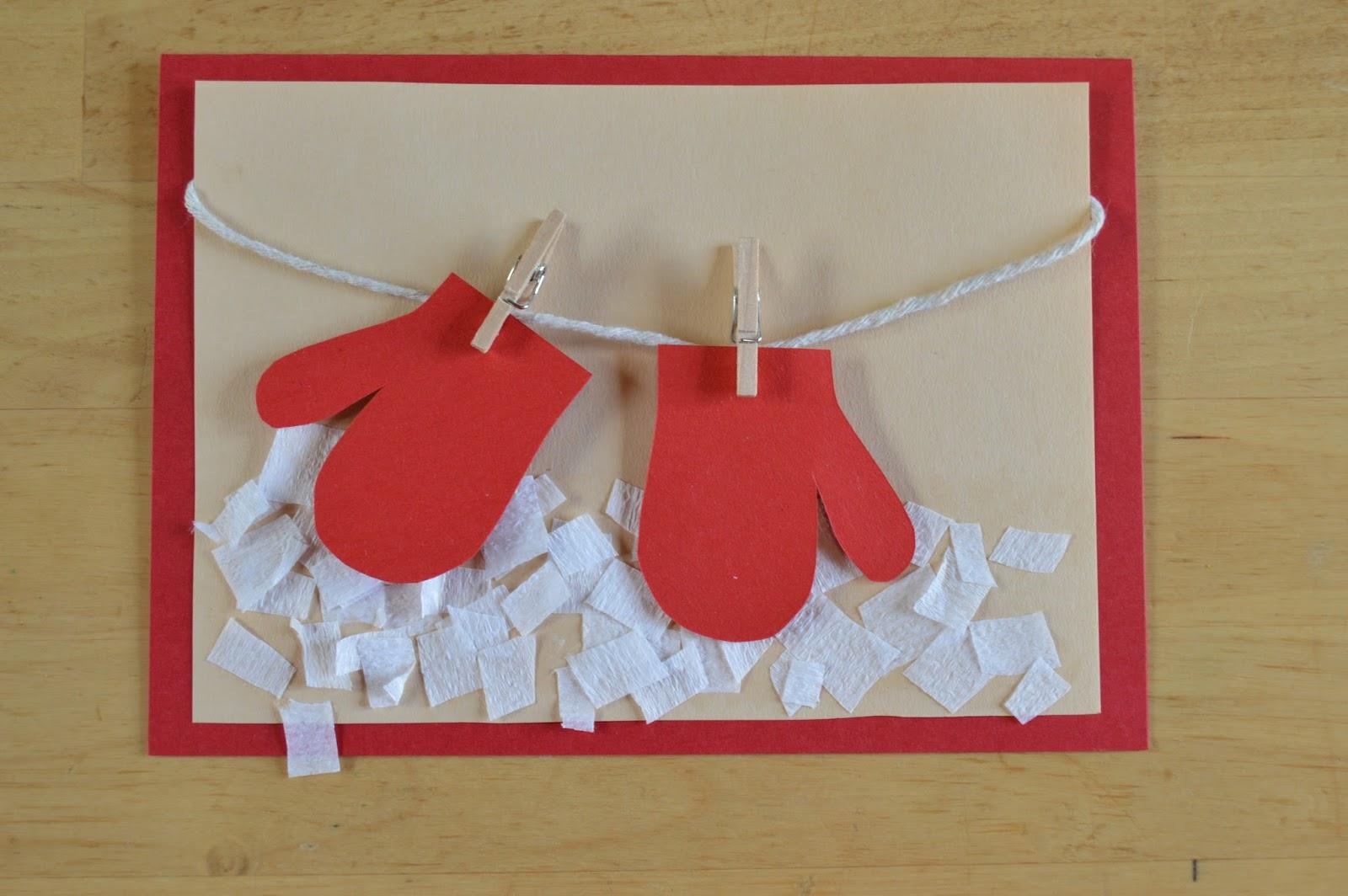 postales de navidad hechas a mano manoplas tendidas - Postales Originales De Navidad