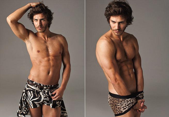 À esquerda: short e blusa T-Lux; cinto Alessandro Dell'Acqua; tênis Osklen. À direita: cueca Dolce & Gabbana. Foto: Fernando Torquatto