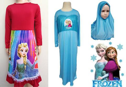 contoh busana muslim anak frozen