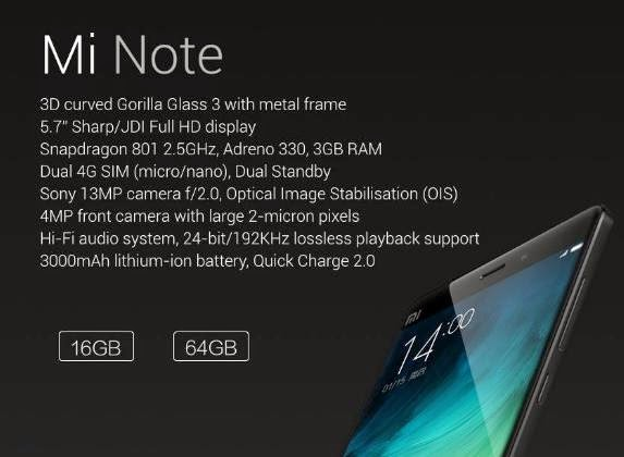 Xiaomi Mi Note Now Official, 5.7-inch Full HD, Qualcomm Chipset, Hi-Fi Audio, Dual 4G