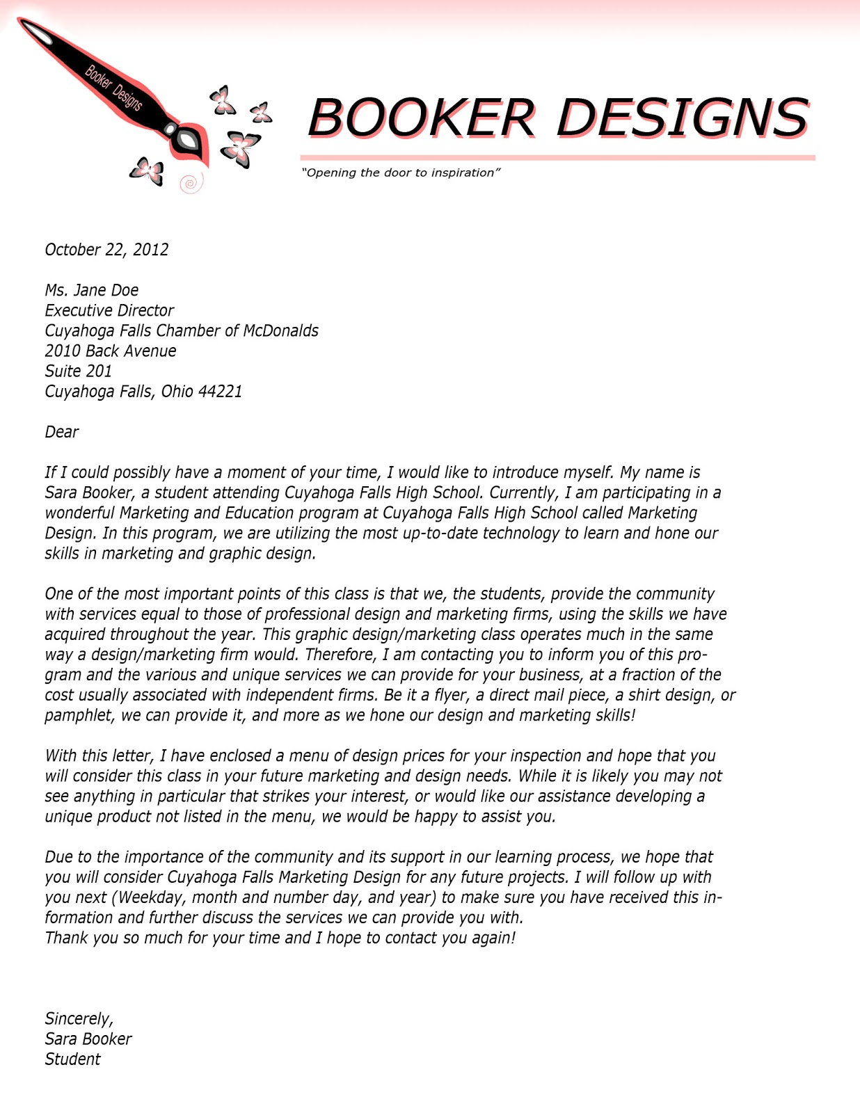 Adventures in Marketing and Design: Business Letter