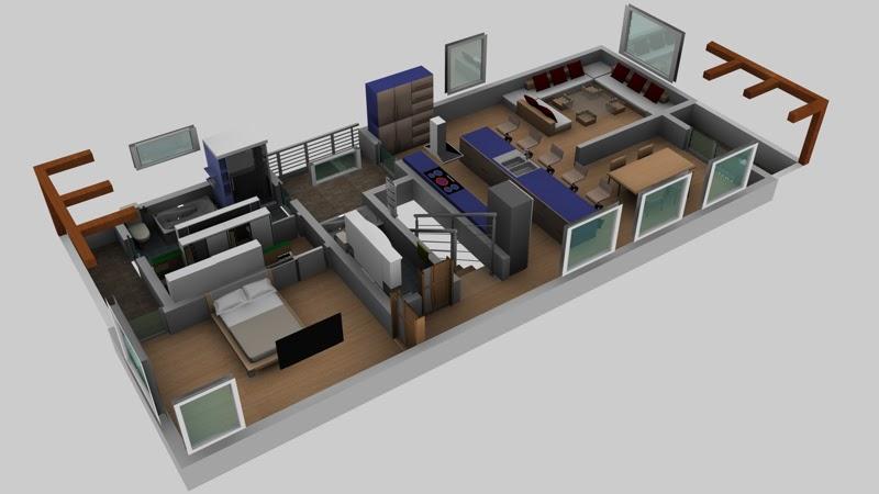 Dise o casa en cinema 4d el sitio de mi recreo for Diseno casa una planta
