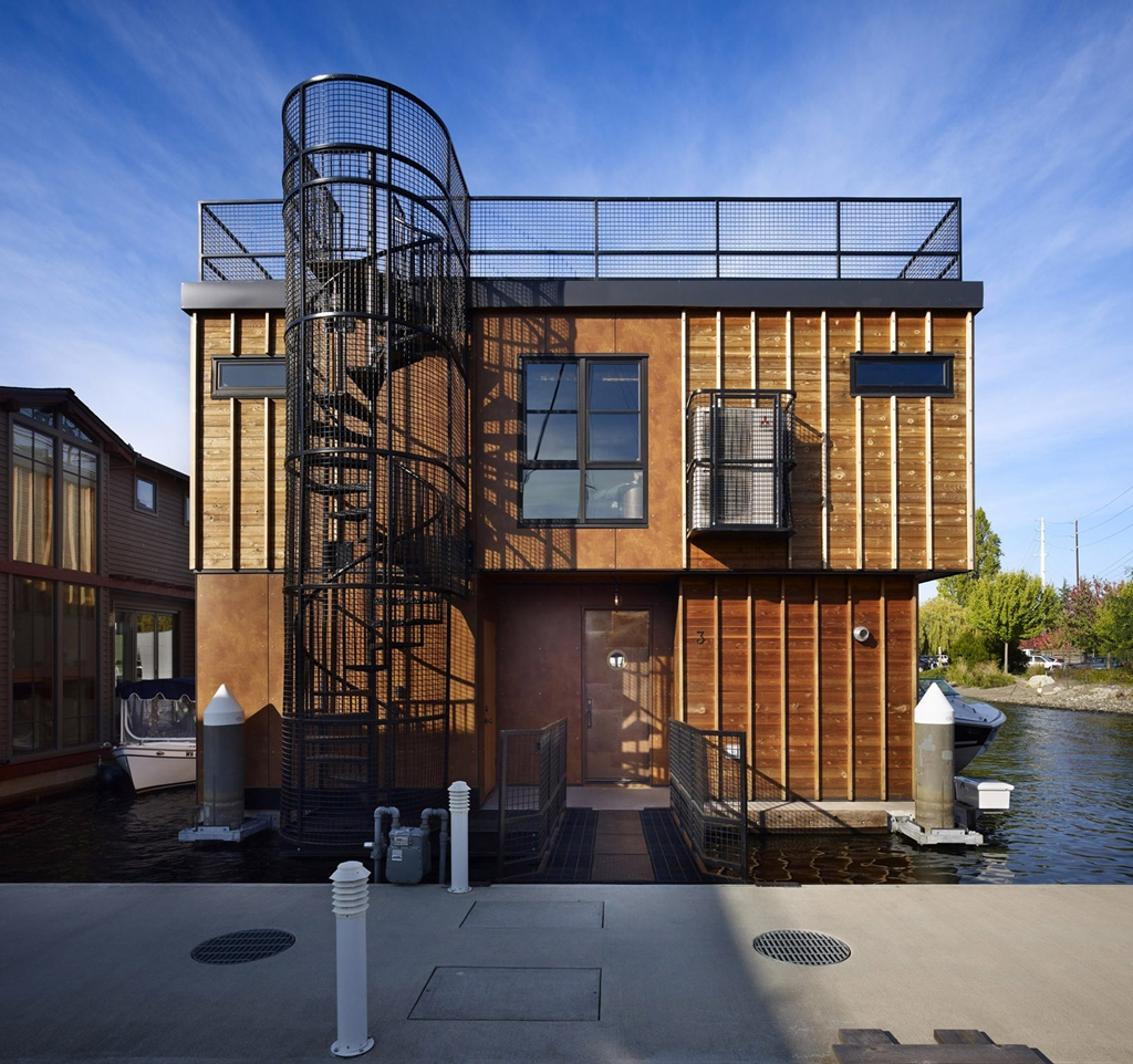 Modern cabinet floating homes lake union float home for Amazing home design architecture