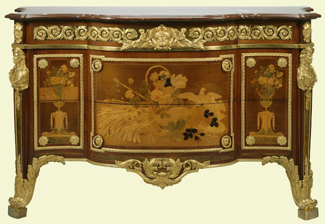Chest-of-drawers (commode), c.1774  Louis XVI, made for the Chambre du Roi, Versailles, 1774; sold 1794; George Taylor; his sale Christie's, London,  1825; bought by Robert Fogg for George IV (56 guineas).
