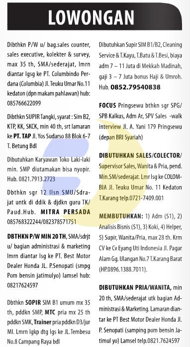 Lowongan Kerja Baris Lampung Post 7 Desember 2014