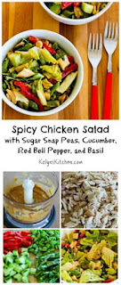 Spicy Chicken Salad Recipe with Sugar Snap Peas, Cucumber, Red Bell Pepper, and Basil (Low-Carb) [from KalynsKitchen.com]