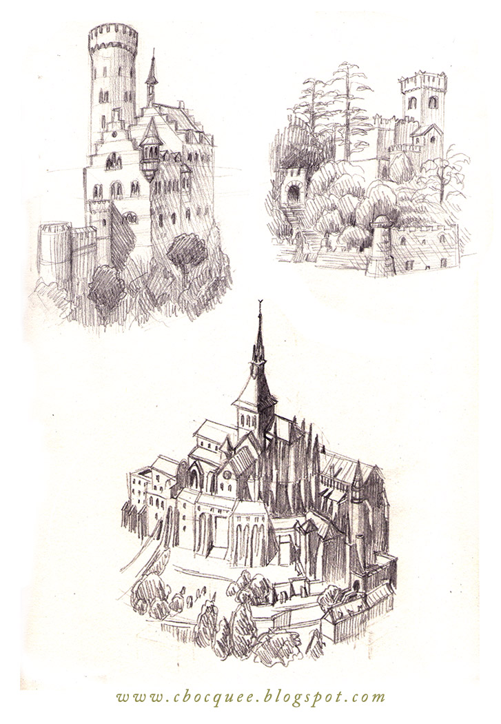 Sketchbook drawings of castles